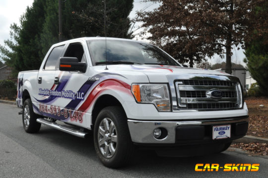 Affordable Freedom Mobility corporate pick-up wrap with lettering and custom graphics