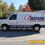 Bestech simplist corporate van wrap with side logo and lettering