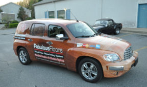 Fabulous Floors corporate jeep wrap with windows and lettering Fabulous Floors corporate jeep wrap with windows and lettering