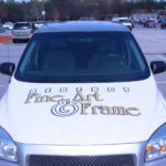 Fine Art and Frame corporate van wrap with custom graphics, lettering, and windows.
