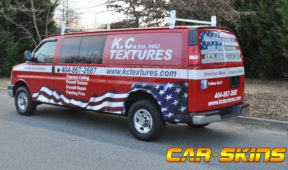 KC Textures corporate van wrap with windows, lettering, and custom graphics.