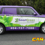 Smart Green corporate van wrap with side logo and lettering