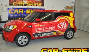 Total insurance SUV wrap with lettering and side logo