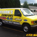 Welon's comfort heating and A/C van wrap with logos, lettering, and windows.