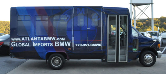 Global Imports BMW corporate bus wrap