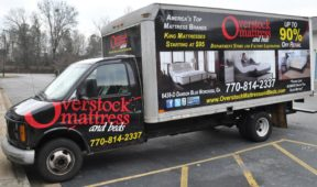 Overstock Mattress tcorporate trailer truck wrap full wrap