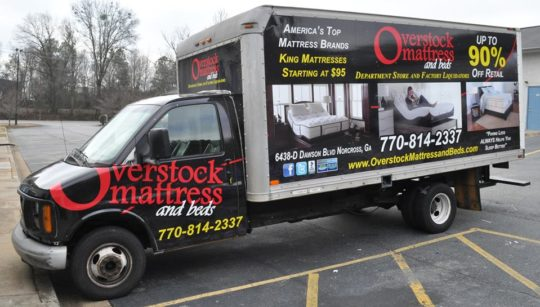 Overstock Mattress tcorporate trailer truck wrap full wrap