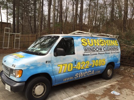 Sunshine Window Cleaning corporate van wrap