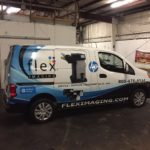 Flex Imaging corporate van half wrap with graphics and lettering