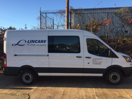 Lincare simplistic corporate wrap with logos and lettering