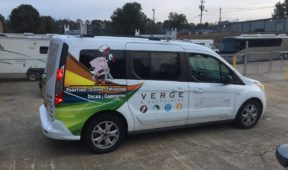 corporate verge painting wrap with letter and logo